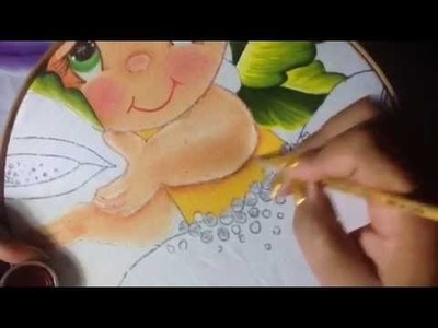Pintura en tela niña papaya #3 con cony