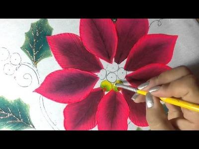 Pintura en tela nochebuena rosa # 2 con cony