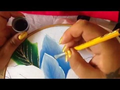 Pintura en tela nochebuenas azules #2 con cony