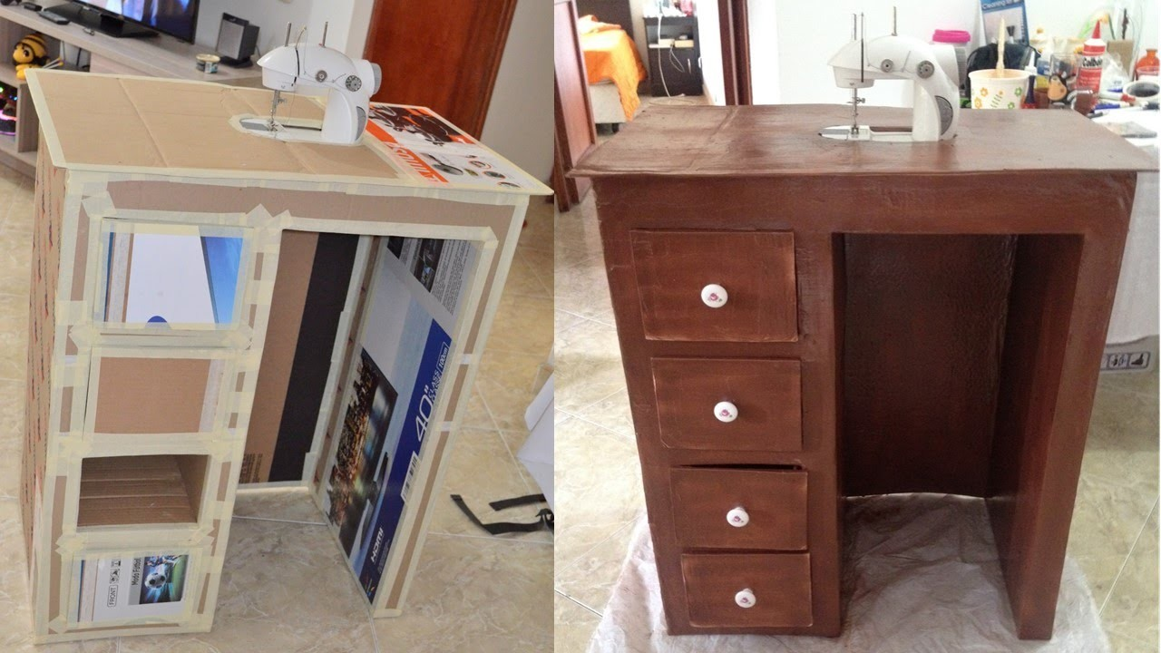Tutorial: cómo hacer mueble de carton para escritorio o maquina de coser parte 1.2 DIY