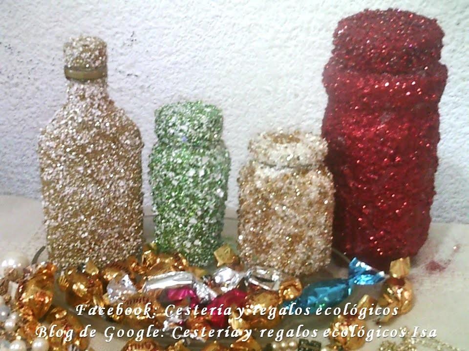 Frascos de vidrio decorados. DIY Decoration of glass bottles