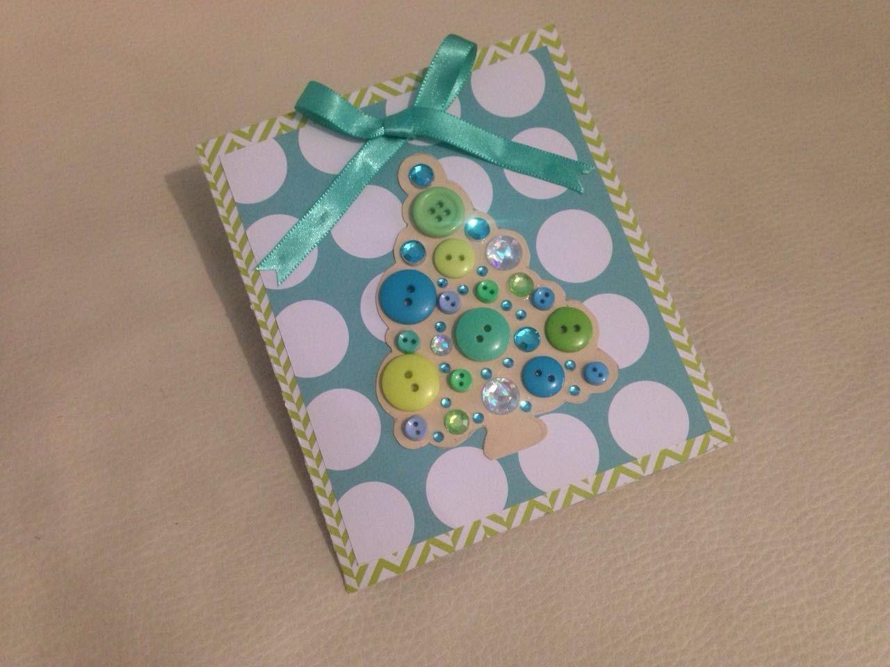 DIY Tarjeta Navidad * árbol con botones * scrapbook