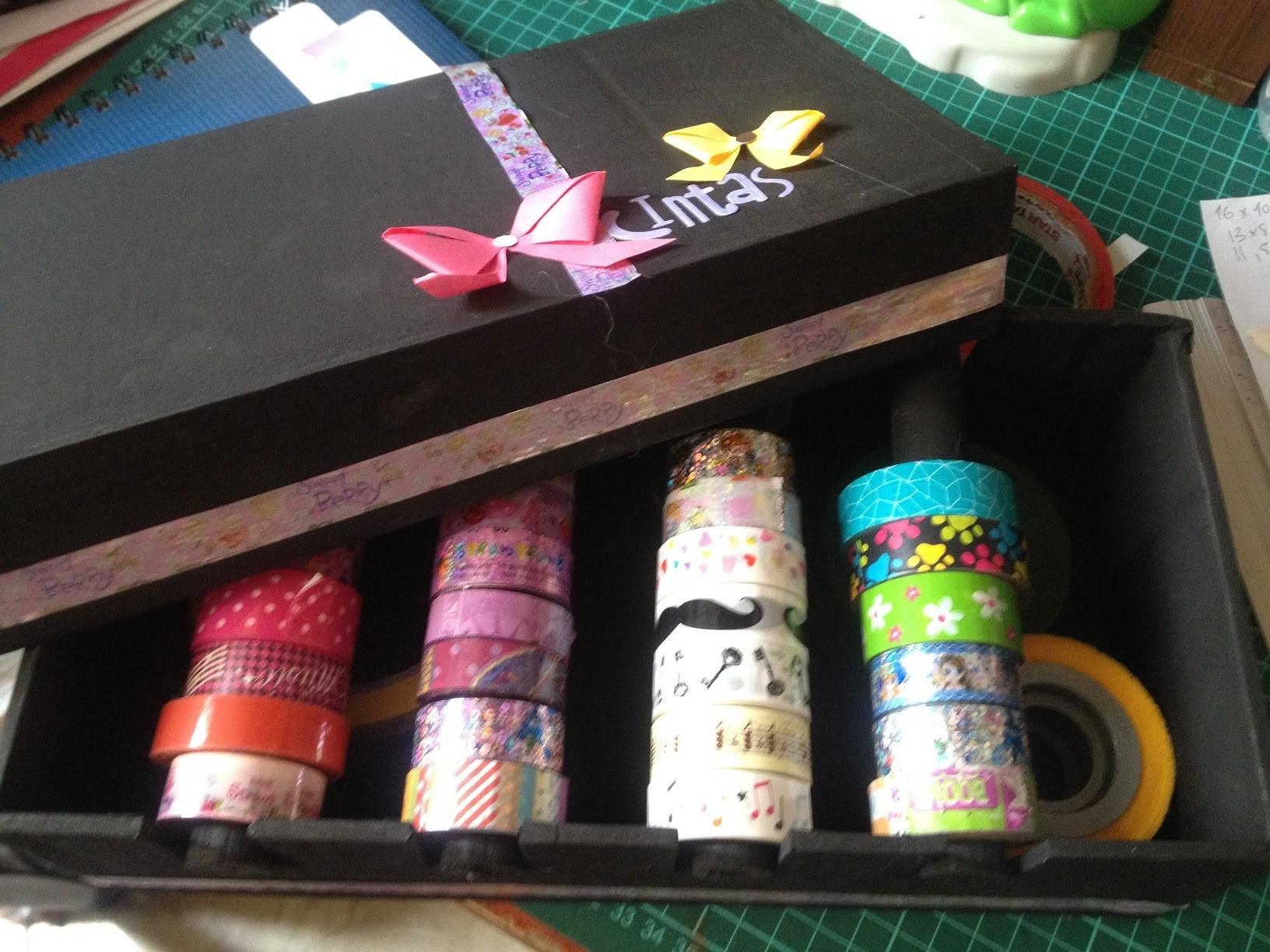 Tutorial y avisos: caja para guardar cintas con carton reciclado DIY