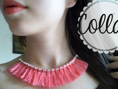 DIY- Collar etnico de hilo y cuentas de cristal muy fácil.Easy necklace with thread