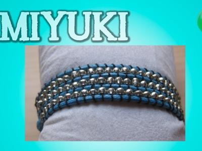 Miyuki turquesa con bolas plateadas | Miyuki | Tutorial | Es.PandaHall.com