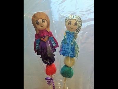 DIY brochetas de Anna y Elsa FROZEN  con bombones y foamy