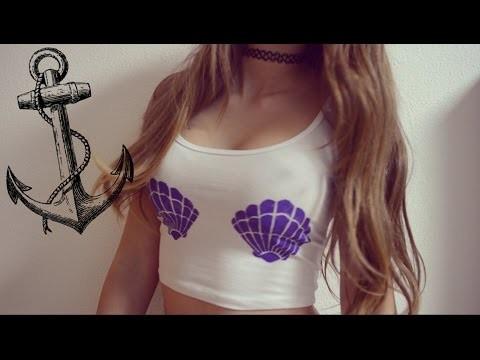 DIY: CÓMO PINTAR UNA CAMISETA (Ariel mermaid bra)