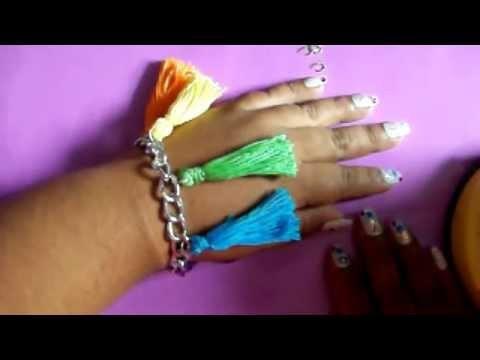 DIY Pulsera de Borlas Multi Color