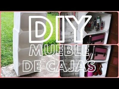 DIY Mueble con cajas (Madera.Carton.Periodico)