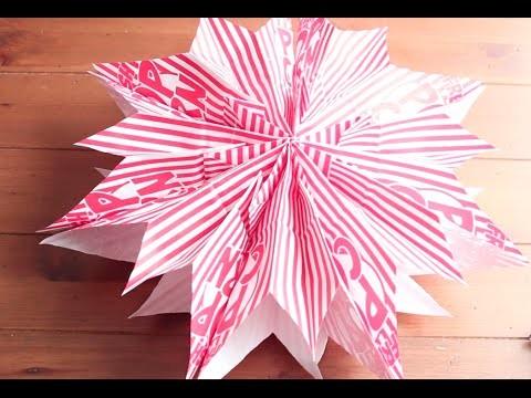 DIY Como hacer estrellas de papel con bolsas para  palomitas