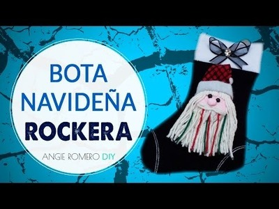 DIY Como hacer una bota de navidad Rockera con papá noel