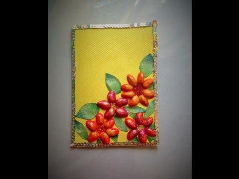 DIY Tarjeta de cascara de Pistaches día de las madres card made of shelled pistachios