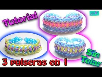 ♥ Tutorial: Pulsera 3 en 1 de gomitas (sin telar) ♥