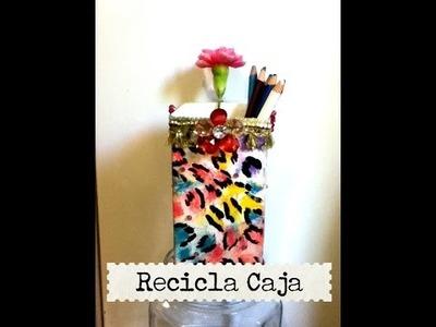 DIY recicla cartón de leche jugo porta lápiz pintura milk carton recycling painting and decorating