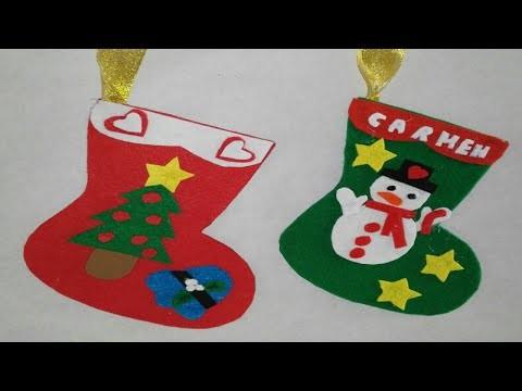Como hacer botas de navidad adornos navideños manualidades tutorial DIY
