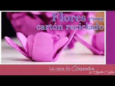 Fáciles y lindas flores con cartón reciclado DIY Alejandra Coghlan