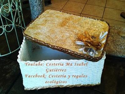 Cesto cuadrado tejido en papel. DIY Basket square weave paper