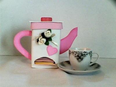 DIY jarra porta sobres de té de fomi