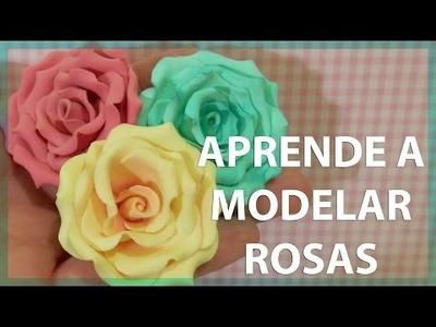 MODELADO DE ROSAS PARA FIMO, PLASTILINA, FONDANT, PADICO O PORCELANA FRÍA. DIY FLORES.