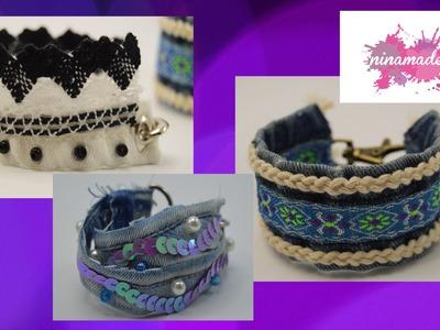 DIY. Pulsera con vaqueros reciclados. Bracelet with recycled jeans.