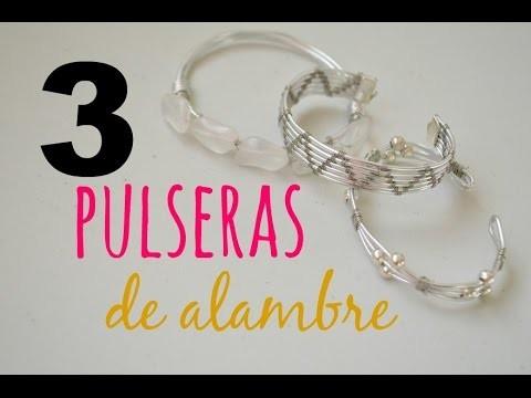 DIY Cómo hacer 3 pulseras distintas con alambre.How to make three bracelets with wire (eng CC)
