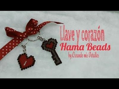 DIY Corazón y llave San Valentin Hama Beads mini Perler Beads
