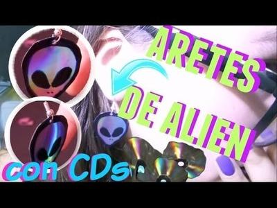ARETES DE ALIEN ☆ ¡CON CDs! ☆DIY  ☆ fácil y económico- Akane