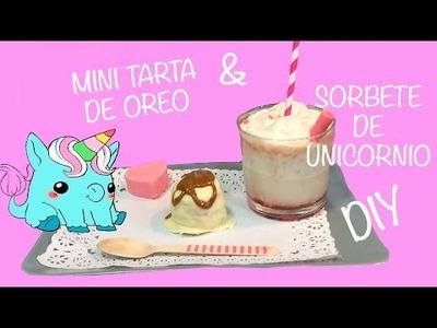 COMO HACER MINI TARTA DE OREO Y SORBETE DE UNICORNIO. DIY