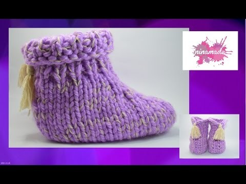 DIY. Como tejer pantuflas con dos agujas. How to knit slippers with two needles