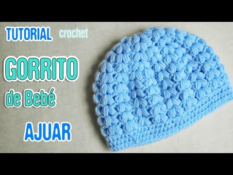 DIY Gorrito de bebé punto puff | Crochet AJUAR varón