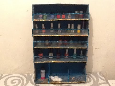 ♻️ DIY organizador de esmaltes de uñas reciclando cartón. Nail Polish rack
