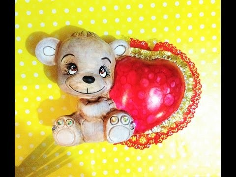 DIY pinta cerámica oso san Valentín, halos foil, ceramic valentines days