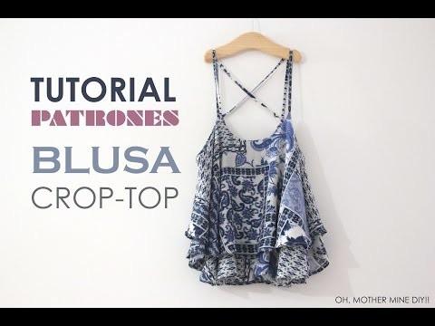 DIY Tutorial Blusa Crop-Top mini (patrones gratis)