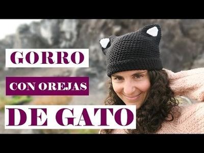 Cómo hacer un gorro con orejas de gato | Crochet cat hat