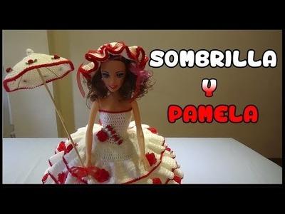 Como hacer Sombrilla y Pamela crochet para Muñeca