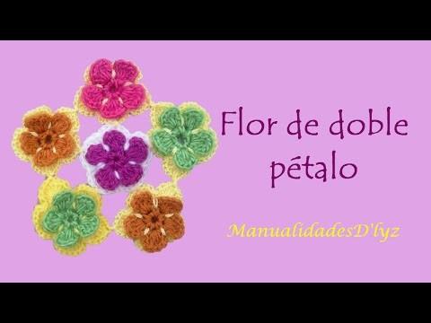 Como tejer flor a crochet paso a paso - Flor doble pétalo