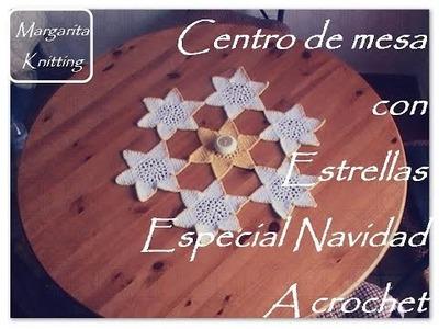 Estrellas a crochet: centro de mesa navideño (diestro)