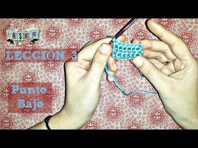Lección 3: Cómo hacer Punto Bajo en crochet o ganchillo - How to make singles crochet