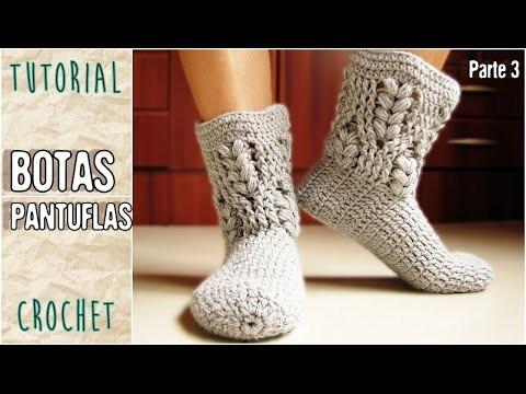 Pantuflas a crochet, todos los talles (Parte 3.3)