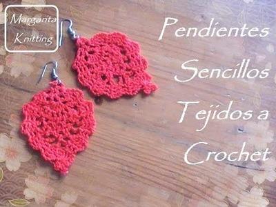 Pendientes sencillos tejidos a crochet (diestro)