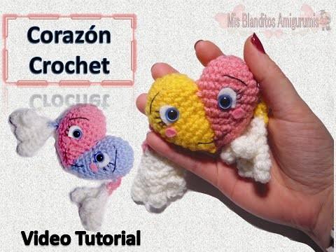 Tutorial crochet, llavero corazón, crochet san valentin