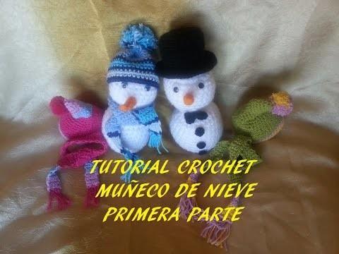Tutorial muñeco de nieve (cabeza, cuerpo, nariz y ojos) primera parte crochet.ganchillo