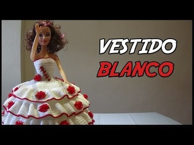Vestido Blanco a crochet para Muñeca