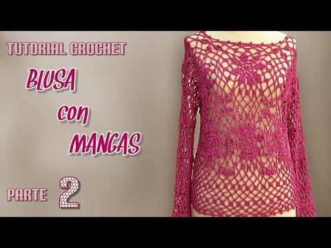 Como tejer blusa con mangas a crochet (2.3)