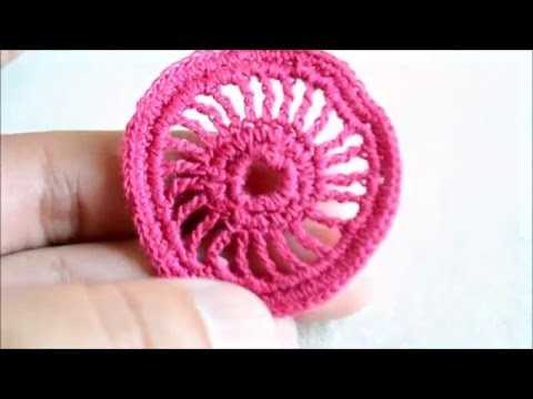Crochet irlandés - Circulo sobre cordón - Irish crochet lace wheel