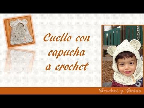 Cuello con capucha y orejas de oso tejido a crochet para niños