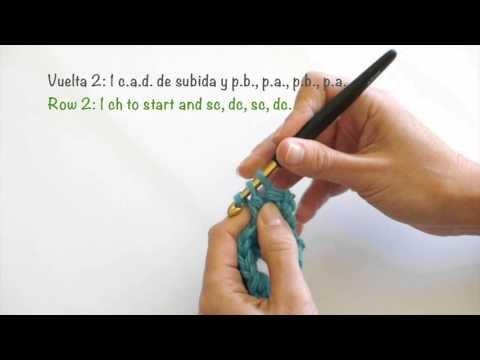 Punto de arroz de crochet. Reversible. Sed stitch. Reversible