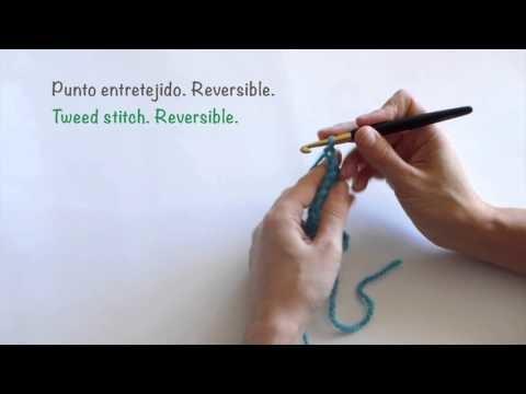 Punto entretejido de crochet. Reversible. Tweed stitch. reversible.