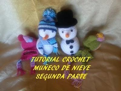 Tutorial muñeco de nieve (gorrito y bufanda) segunda parte crochet.ganchillo