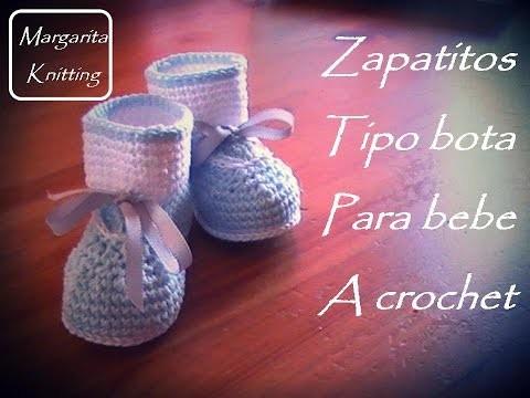 Zapatitos tipo bota  para bebe a crochet (diestro)